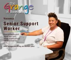"Image may contain: 1 person, sitting, text that says ""Grange nge the at Bookham Vacancy Senior Support Worker Experienced in adult social care with strong organisational and prioritisation skills. ww.ganentre.og.ukocrent-jobs/"""